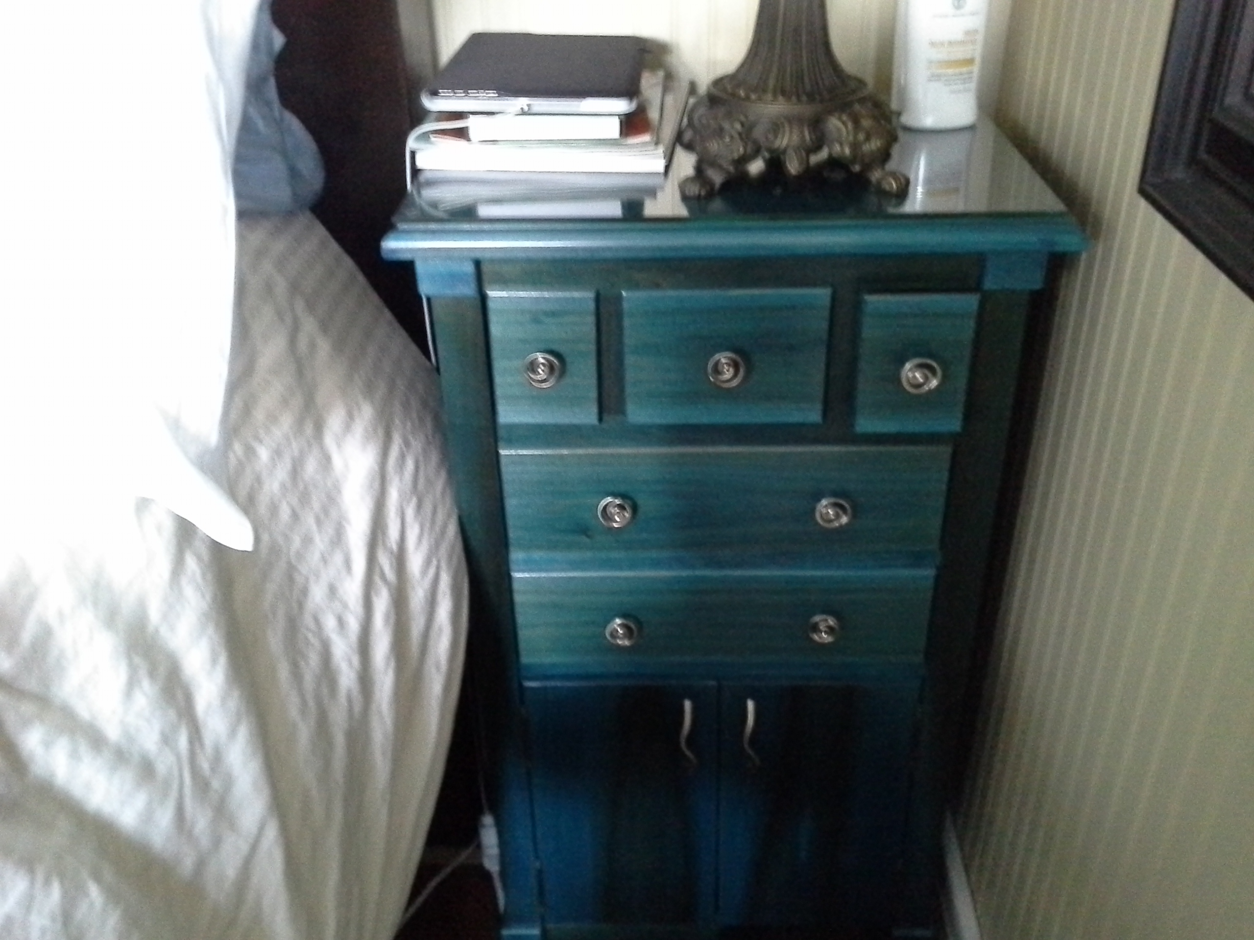 blue bed side dresser