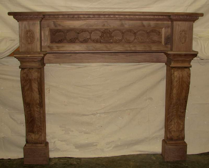 A carved mantel